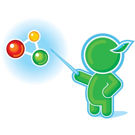 Green Hero Pointing at Molecule, Chemical Formula Vector
