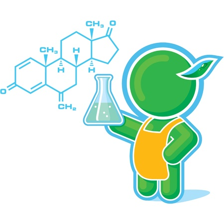 Green Hero as a Chemistry Teacher Vector