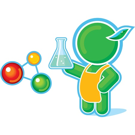 quimica verde: H�roe verde como un profesor de qu�mica Vectores