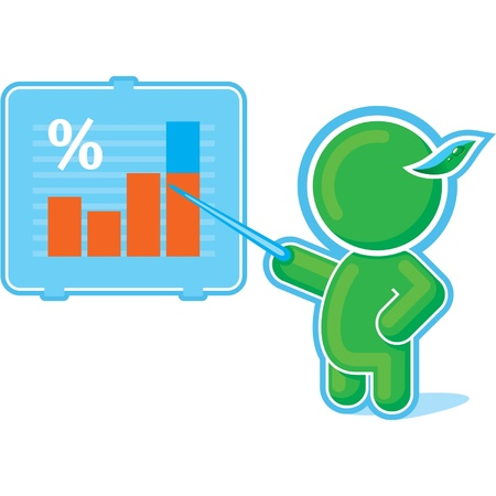 Green Hero pointing at Chart Graph  Vector