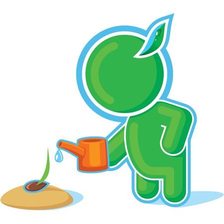 regar las plantas: Héroe verde Regando la semilla