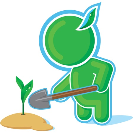 seed growing: Green Hero working in the Garden  Illustration