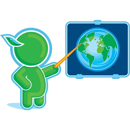 Green Hero pointing at the Globe on the Desk Stock Vector - 11113903