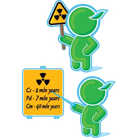 exclaim: Green Hero with Radiation Warning Sign  Illustration