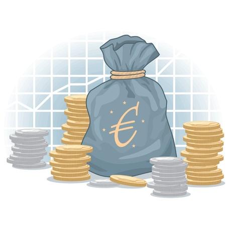 dinero euros: Euro Bolsa de dinero con monedas en el fondo Diagrama