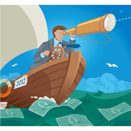 granola: Gerente de vela en el mar de dinero Vectores
