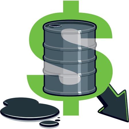 crude: Dollar Symbol with Barrel of Oil - Price Down  Illustration