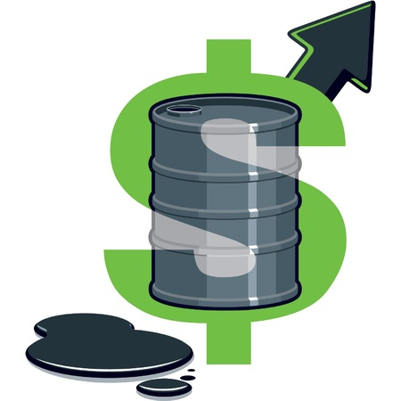 Dollar Symbol with Barrel of Oil - Price Up  Vector