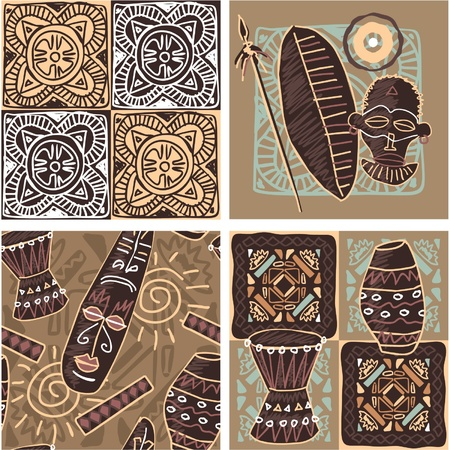 Set of African Seamless Tiles Vector