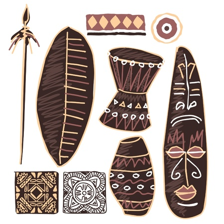 spear: Set of African Elements Illustration