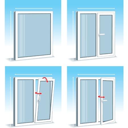 white window: Juego de Tipos de ventanas de pl�stico (PVC)