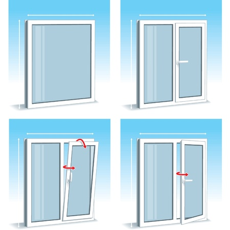 opened: Set of Plastic (PVC) Window Types Illustration
