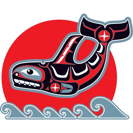 Orca (Killer Whale) in Native Art Style  Vector