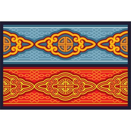 mongolian: Oriental Seamless Pattern  Border