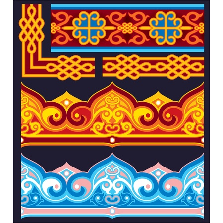 national border: Oriental Seamless Pattern  Borders