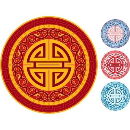 chinese border: Oriental Ornament Rosette Illustration