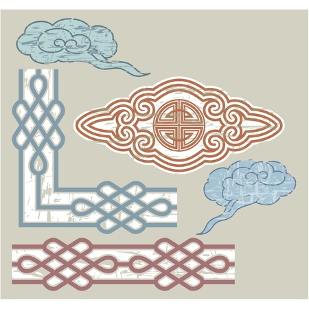 Oriental Seamless Border and Ornament  Vector