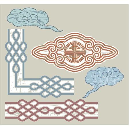 national border: Oriental Seamless Border and Ornament  Illustration
