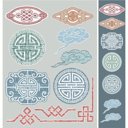 chinese pattern: Set of Oriental Design Elements