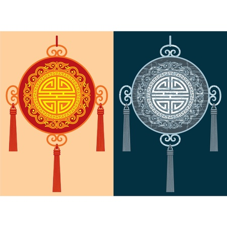 new year border: Chinese Decoration (including grunge version)