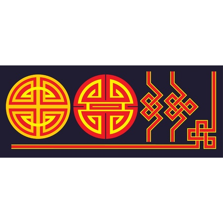 Oriental Knots and Border Elements Vector