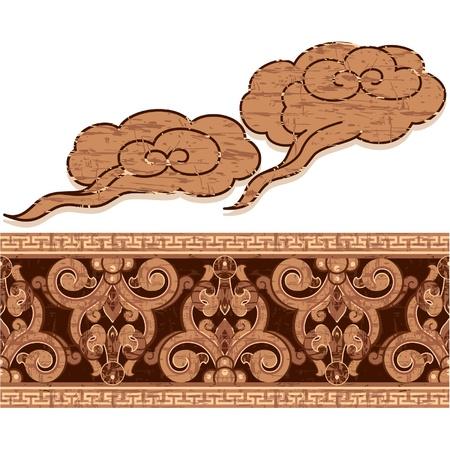 chinese border: Oriental Ornament Decoration (grunge vintage woodcut)