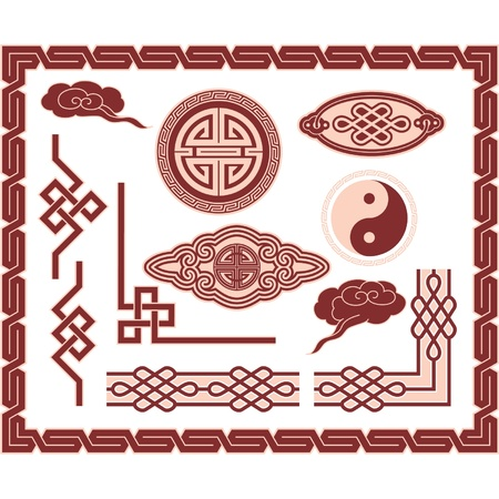 a traditional korean: Set of Oriental Design Elements