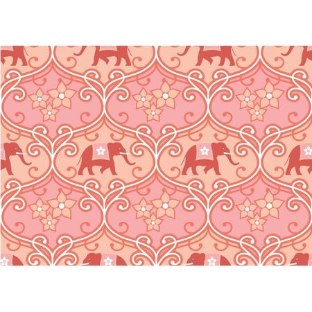 hinduismo: India (Hind�) sin fisuras de baldosas con elefante Vectores