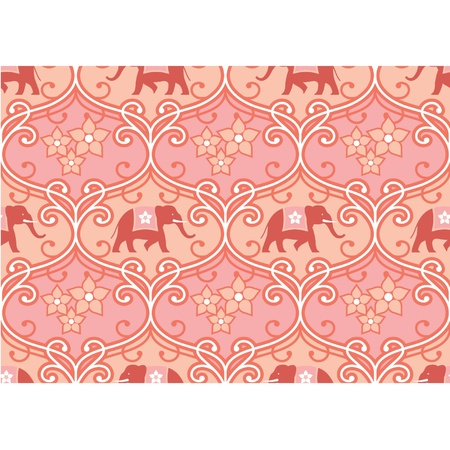 Indian (Hindu) Seamless Tile with Elephant  Vector