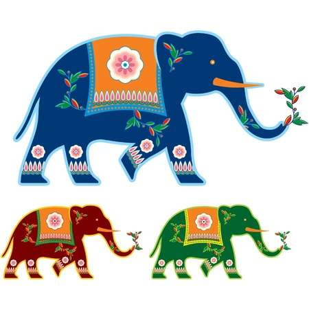Indian (Hindu) Decorated Elephant  Vector