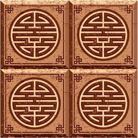 eastern asian: Oriental Grunge Seamless Tile (Wallpaper) Illustration