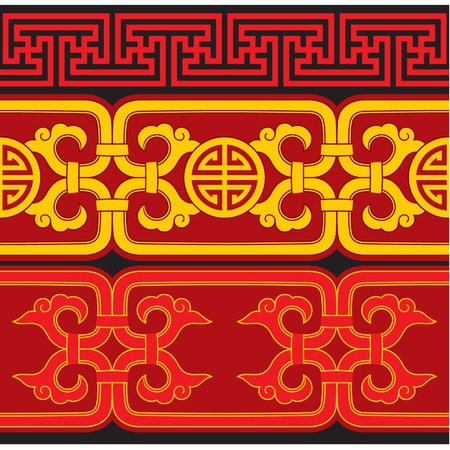 chinese border: Set of Oriental Seamless Borders Illustration