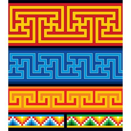 swastika: Set of Oriental Seamless Borders Illustration