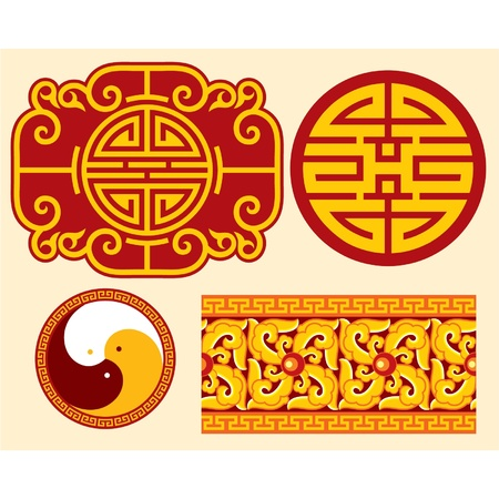 Set of Oriental Design Elements Stock Vector - 11113848