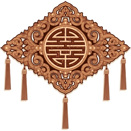 Oriental Design Element - Wood Craft Decoration Vector