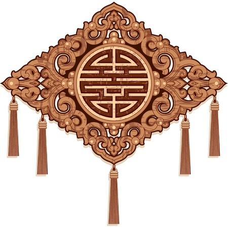 korean traditional: Oriental Design Element - Wood Craft Decoration Illustration