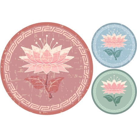 Oriental Design Element - Lotus Rosette Vector