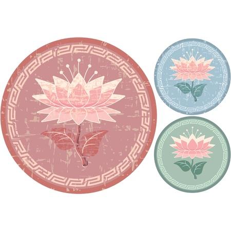 Oriental Design Element - Lotus Rosette Vector