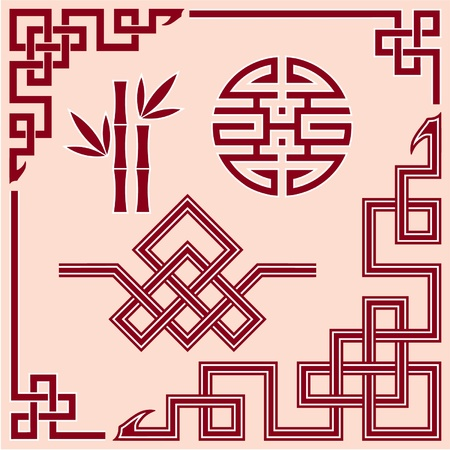 bamboo border: Set of Oriental Design Elements