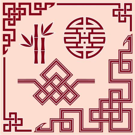 orientalische muster: Set Oriental Design Elements Illustration