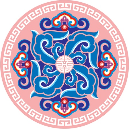asian culture: Ornament Rosette - Oriental Design Element