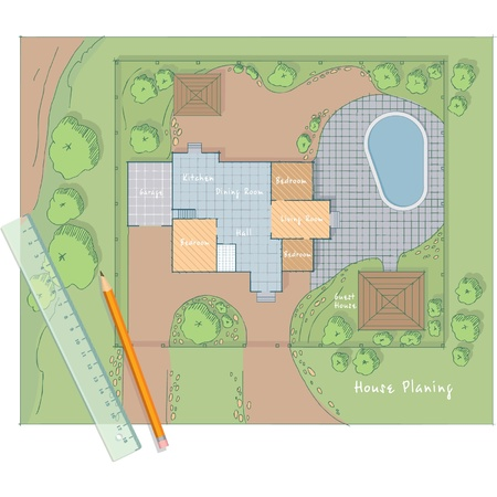 planing: Architect House Planing Sketch
