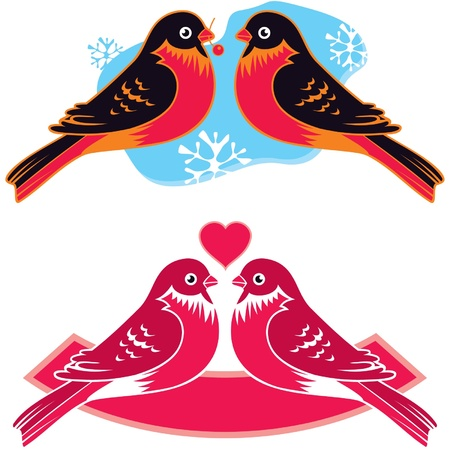 couples outdoors: Birds in Love Illustration