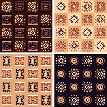 Set of African Seamless Tiles with Authentic Art Elements