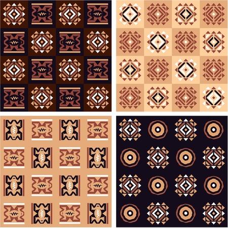 Set van Afrikaanse Naadloze Tegels met authentieke Art Elements Vector Illustratie