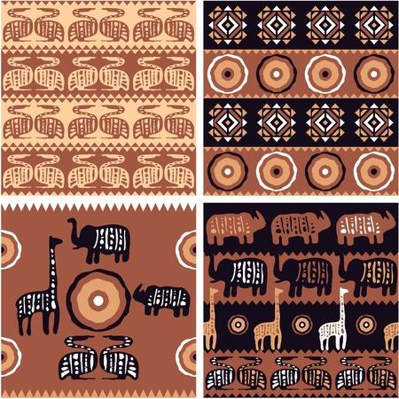 tribu: Conjunto de �frica Azulejos sin fisuras con los elementos del arte aut�ntico