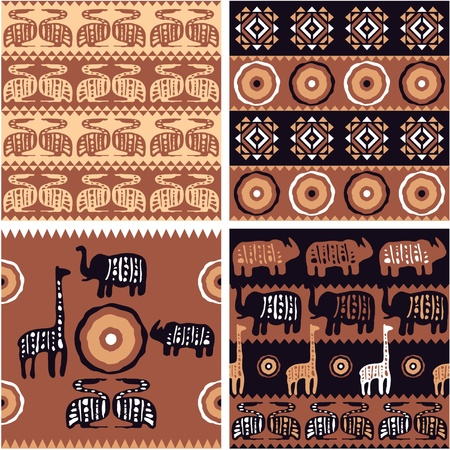 Set of African Seamless Tiles with Authentic Art Elements  Vector