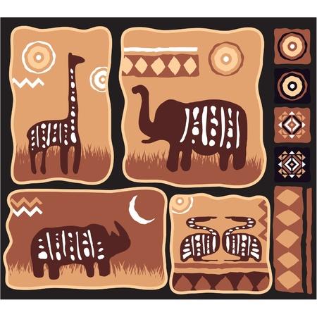 tribu: Conjunto de Ilustraci�n Animales africanos a balazos en el aut�ntico estilo Vectores