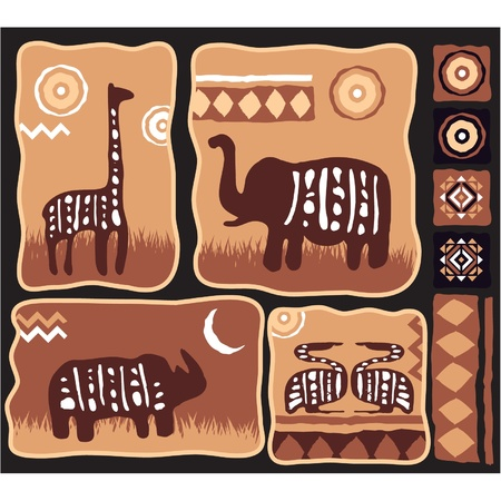 Set of African Animals Illustration with Bullets in Authentic Style  Vector