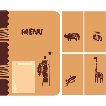 Set of African Design Elements - Menu Vector